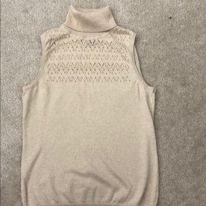 Gold tan turtle neck sleeveless sweater